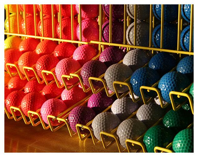 Golf balls in rack